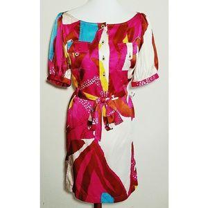 Diane Von Furstenberg Silk Wrap Tie Shirt Dress